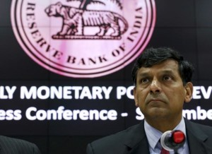 The Reserve Bank of India (RBI) Governor Raghuram Rajan listens to a question during a news conference after the bi-monthly monetary policy review in Mumbai