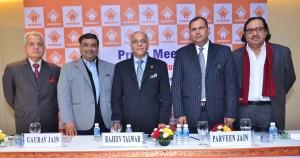 NAREDCO Office Bearers- Brig RR Singh Director General, Gaurav Jain VP (North), Rajeev Talwar Chairman, Parveen Jain Vice Chairman, Anil Suri VP (North) at Pre Budget Memorendum Press Meet (3)